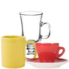 Coffee Mugs, Tea Cups, Cappuccino Cups, and Saucers