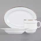 CAC Golden Royal Bright White Porcelain Dinnerware