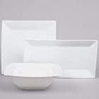 Square and Rectangular White China Dinnerware