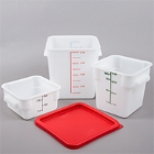Square, White Food Storage Containers & Lids