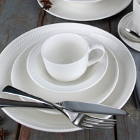 Syracuse China Zipline Royal Rideau White Porcelain Dinnerware