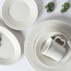 Tuxton Hampshire Embossed Rim Ivory (American White) China Dinnerware