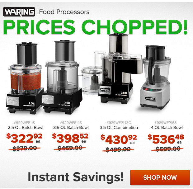 Waring Food Processors Prices Chopped!