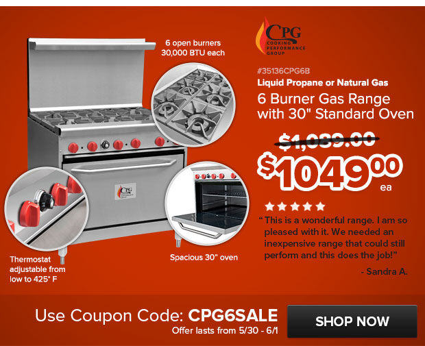 CPG 6 Burner Gas Range with 30 in. Standard Oven