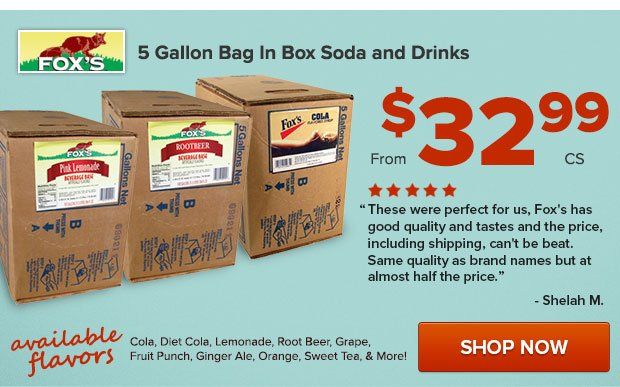 5 Gallon Bag in Box Soda and Drinks