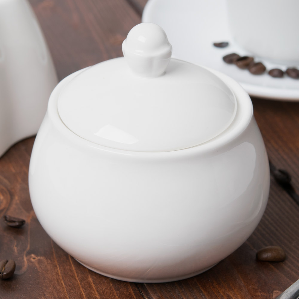 Cardinal Chef & Sommelier S0116 Embassy 10 oz. White Covered Sugar Bowl - 16/Case