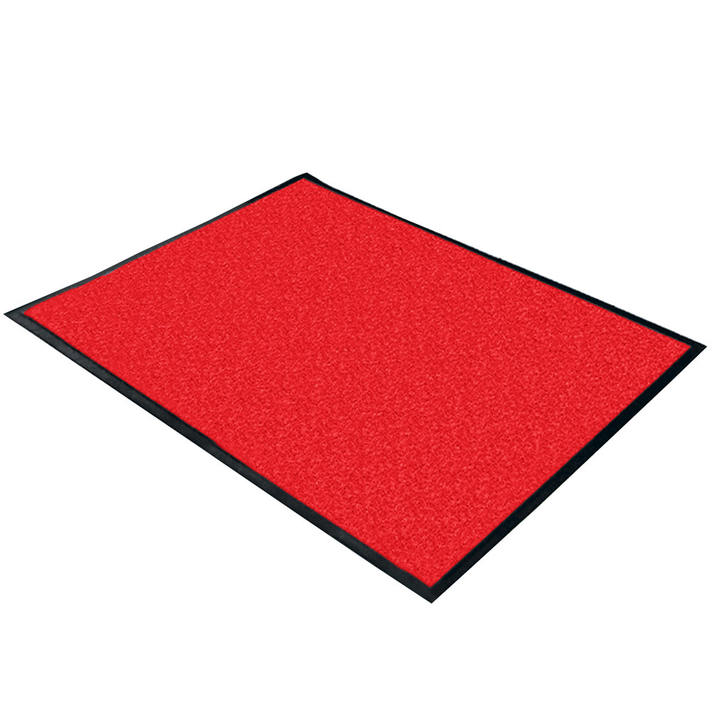 "Cactus Mat 1470F-3 3' Wide Special Cut Red Machine Washable Rubber-Backed Carpet Mat - 3/8"" Thick"