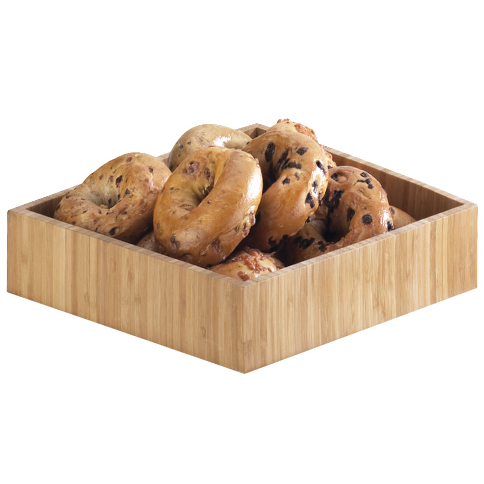"Cal-Mil 1477-12-60 Bamboo Deep Square Tray - 12"" x 12"" x 3 1/4"""