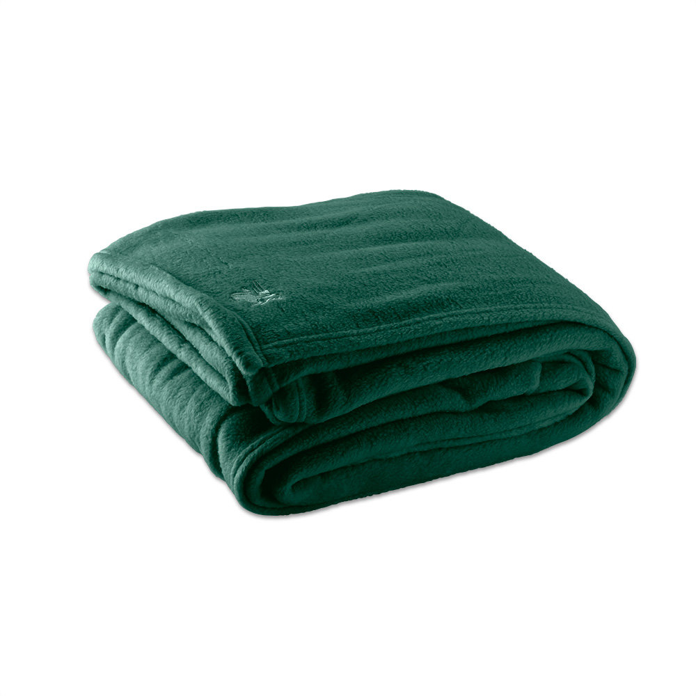 fleece hotel blanket   polyester  jade green queen  x  -