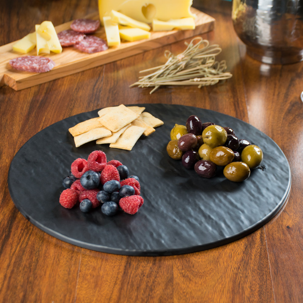 "Tablecraft MG13 Frostone 13"" Round Faux Slate Melamine Display Tray"