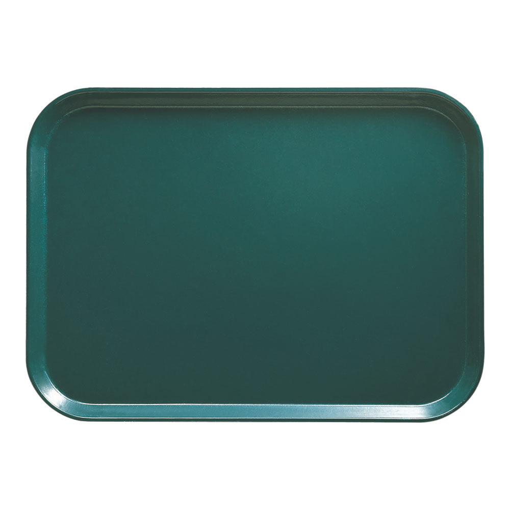 "Cambro 1318414 12 5/8"" x 17 3/4"" x 11/16"" Rectangular Teal Fiberglass Camtray - 12 / Case"