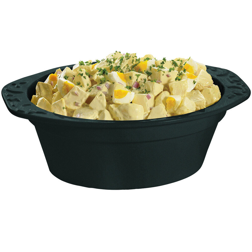 Tablecraft CW1420BKGS 3.5 Qt. Black with Green Speckle Cast Aluminum Small Oval Casserole Dish