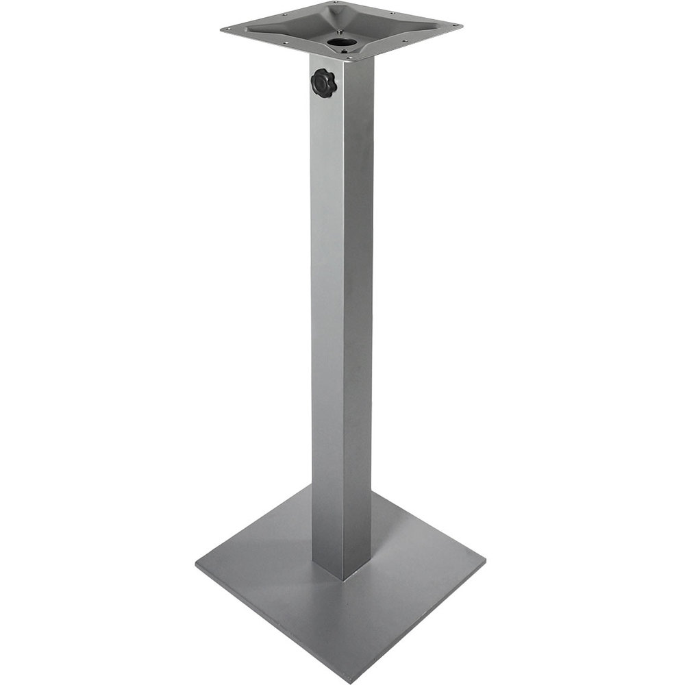"BFM Seating PHTB20SQSVT Margate Bar Height Outdoor / Indoor 20"" Silver Square Table Base with Umbrella Hole"