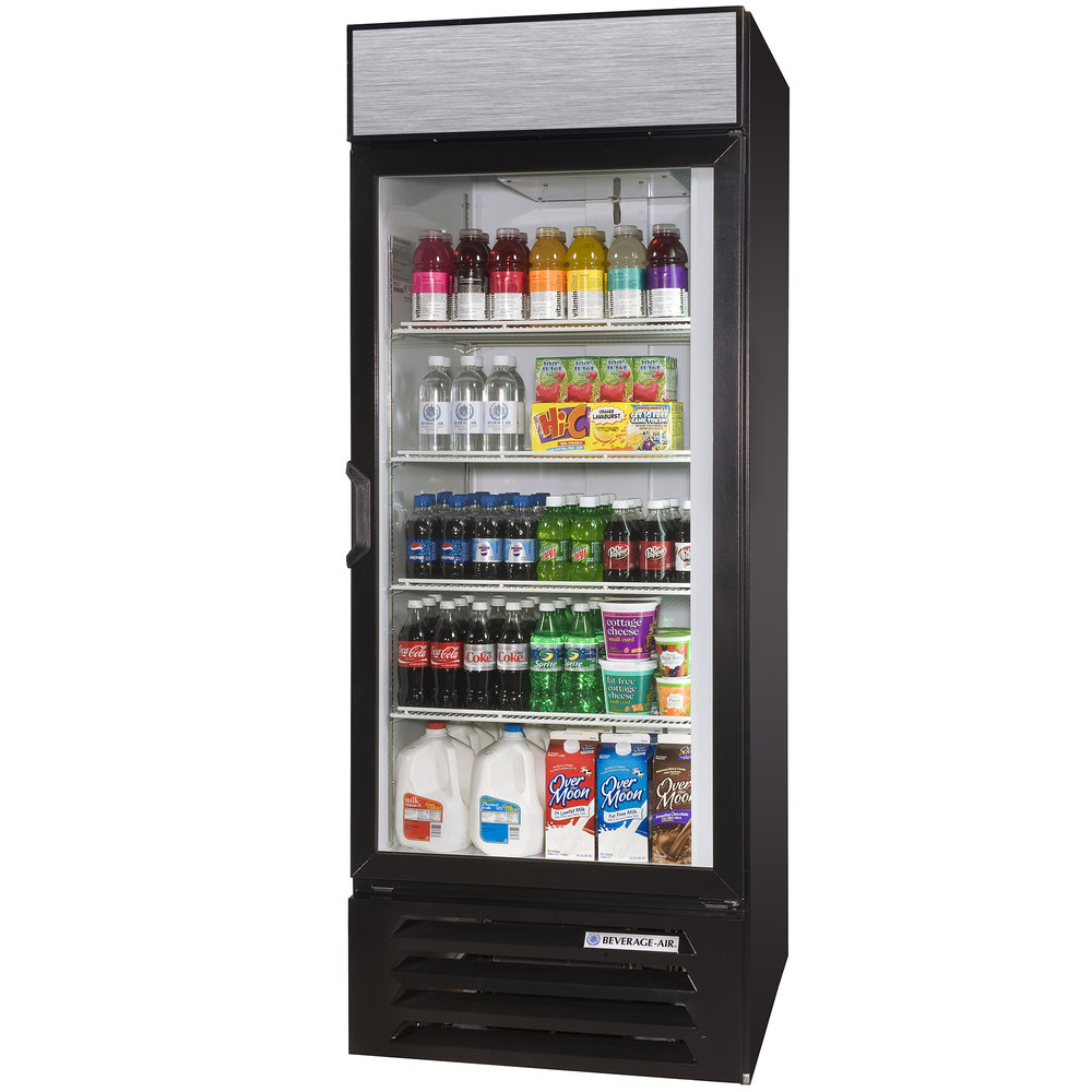 "Beverage Air LV27-1-B-LED Black LumaVue 30"" Refrigerated Glass Door Merchandiser with LED Lighting - 27 Cu. Ft."