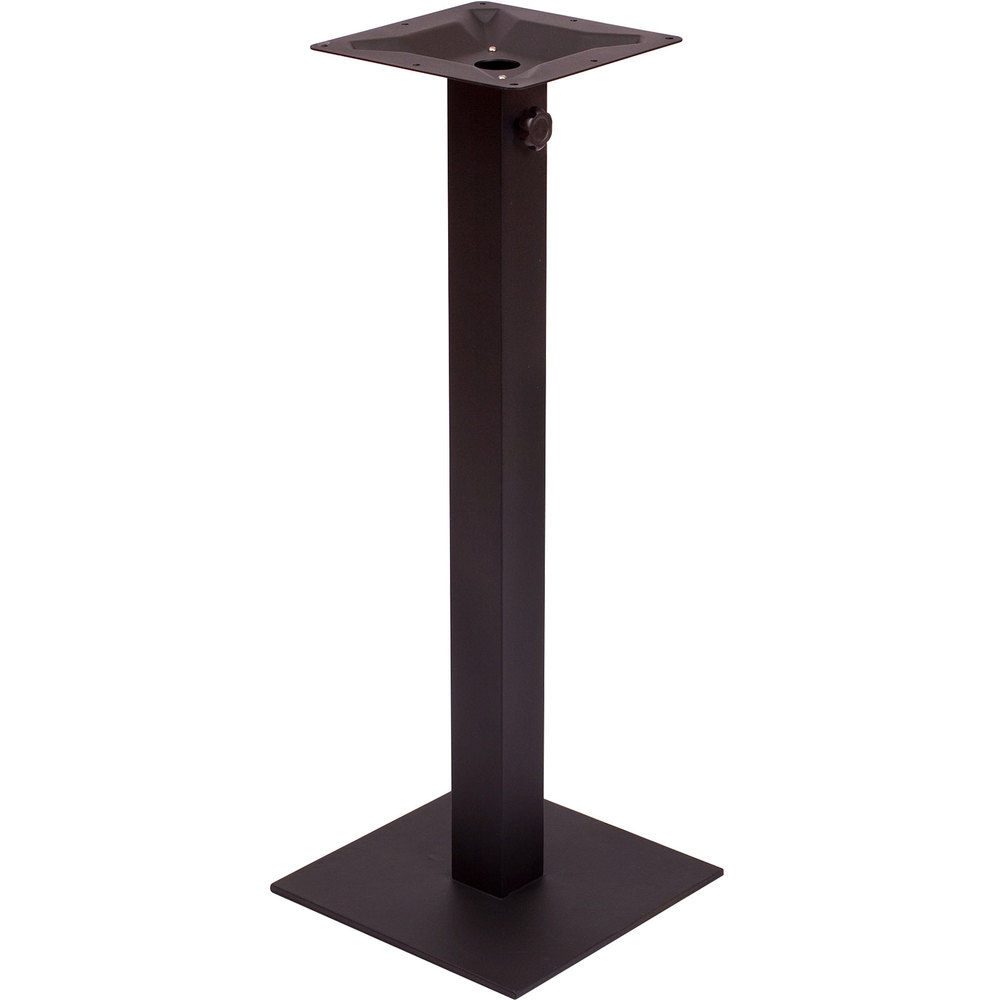 "BFM Seating PHTB20SQBLT Margate Bar Height Outdoor / Indoor 20"" Black Square Table Base with Umbrella Hole"