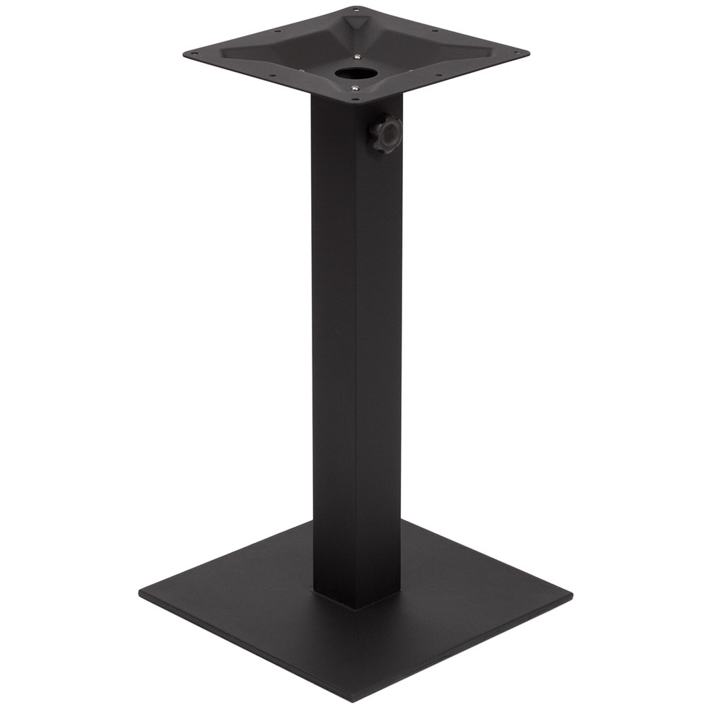 "BFM Seating PHTB20SQBL Margate Standard Height Outdoor / Indoor 20"" Black Square Table Base with Umbrella Hole"