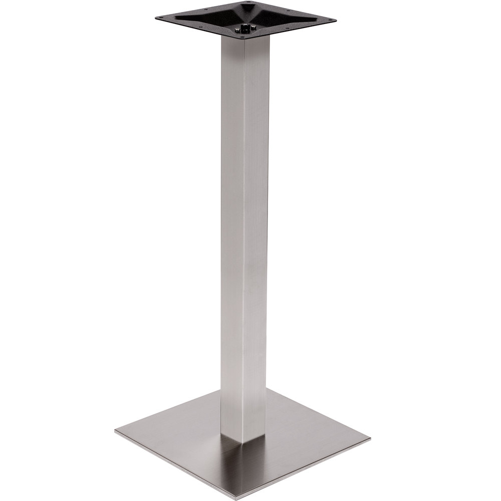 BFM Seating PHTB18SQSST Elite Bar Height Outdoor / Indoor 18 Inch Brushed Stainless  Steel Square Table