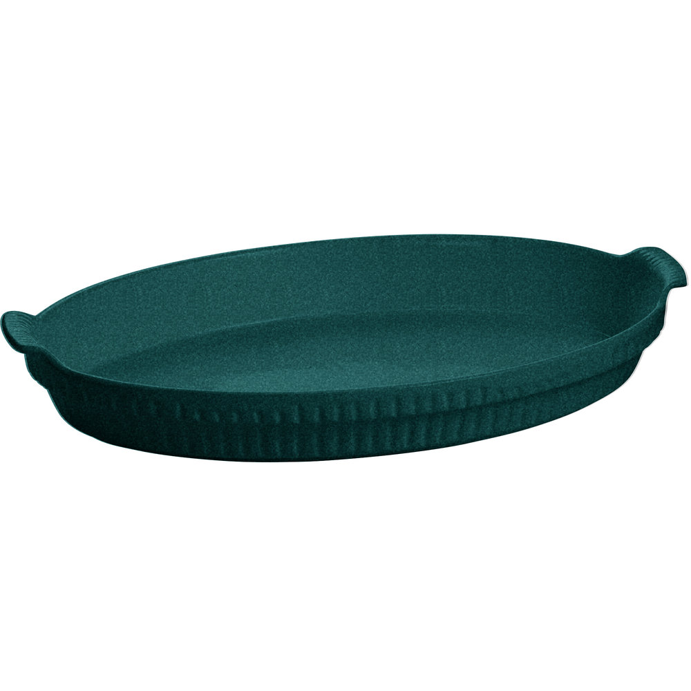 Tablecraft CW1390HGNS 2.75 Qt. Hunter Green with White Speckle Cast Aluminum Large Shallow Oval Casserole Dish