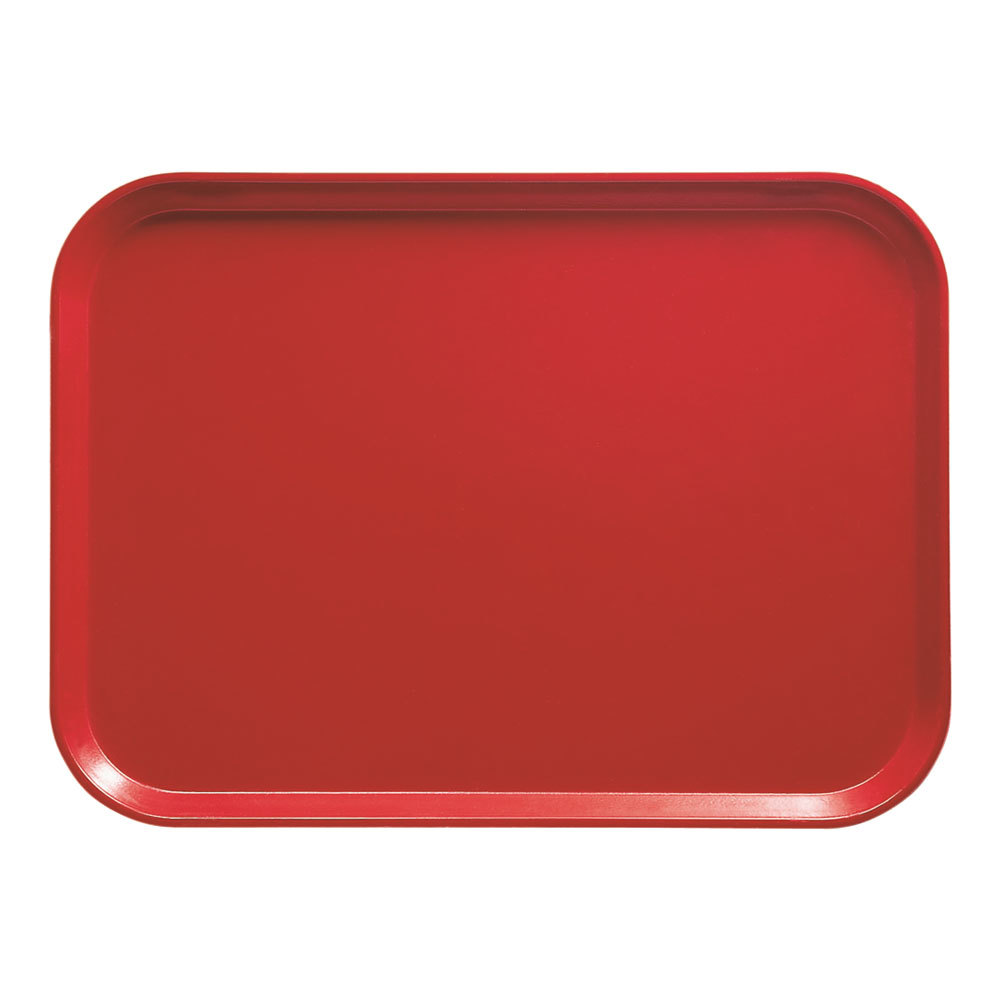 "Cambro 1318510 12 5/8"" x 17 3/4"" x 11/16"" Rectangular Signal Red Fiberglass Camtray - 12 / Case"