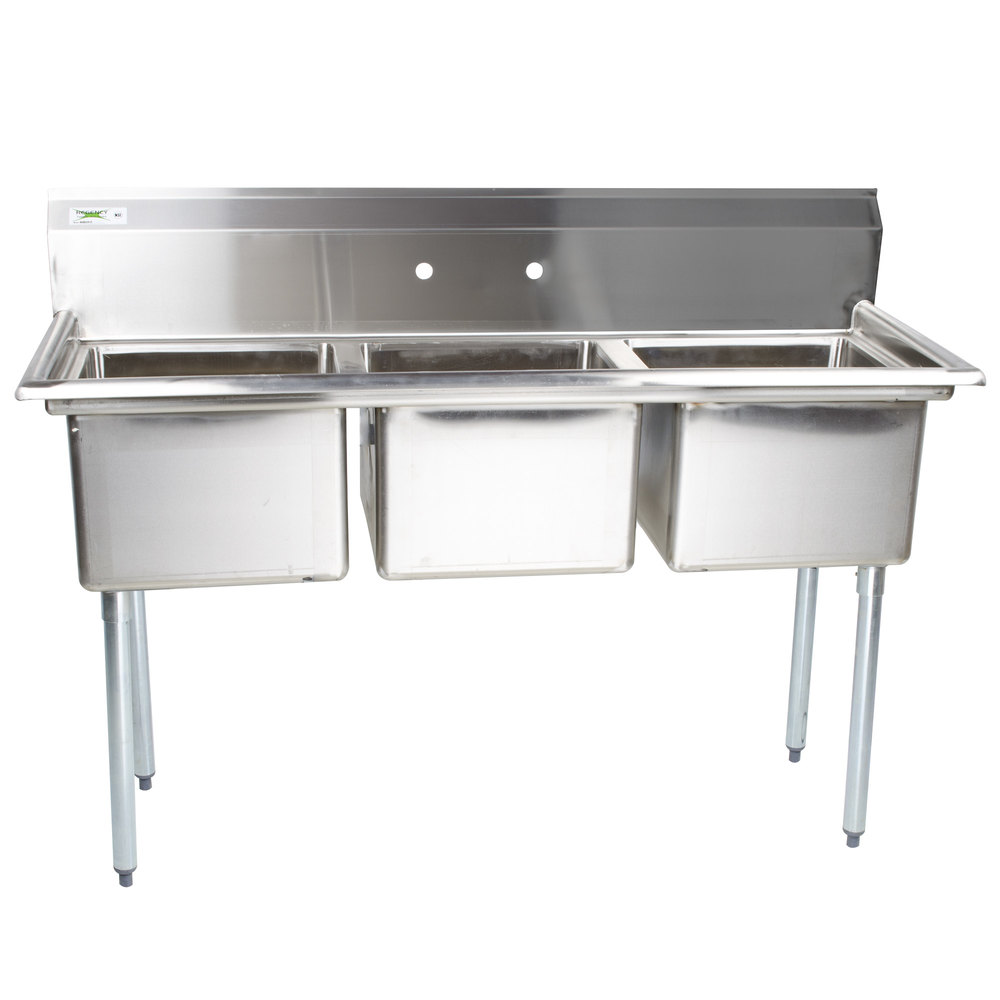regency 60 16 gauge stainless steel three compartment commercial sink without drainboards 17 x 17 x 12 bowls - Three Compartment Kitchen Sink