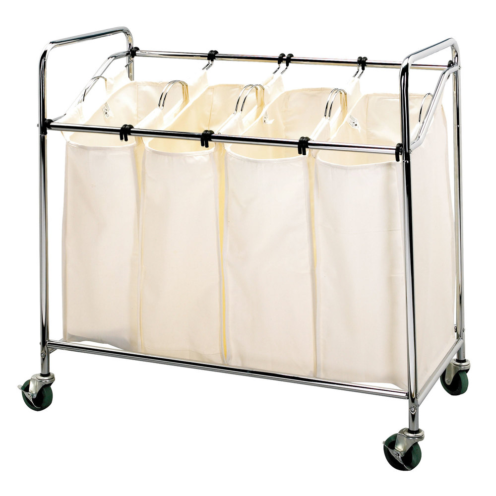 Chrome Laundry Cart Four Compartment Cart With Canvas Bags