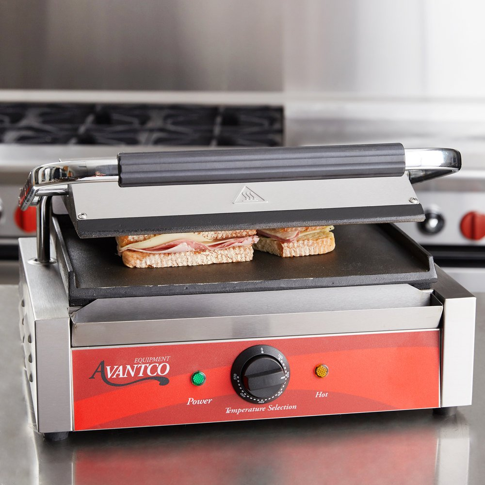 avantco p70s smooth commercial panini sandwich grill. Black Bedroom Furniture Sets. Home Design Ideas