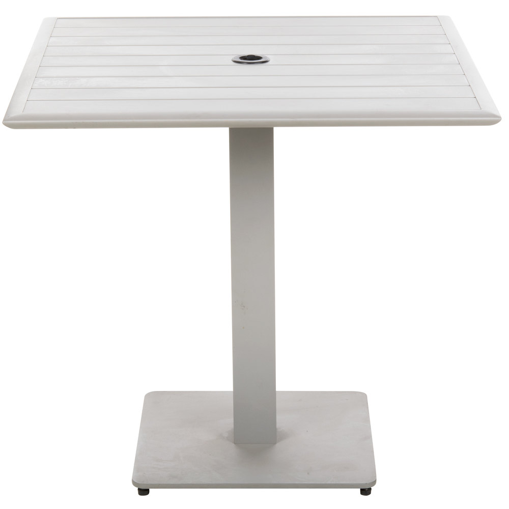 "BFM Seating DVS3232TSU South Beach 32"" x 32"" Outdoor / Indoor Square Tabletop and Table Base with Umbrella Hole"