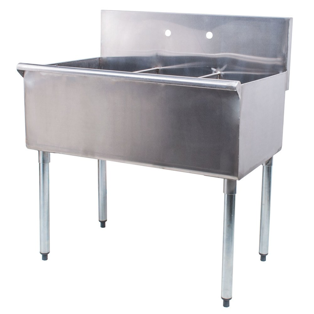 "Regency 36"" 16-Gauge Stainless Steel Three Compartment Commercial Sink without Drainboards - 12"" x 21"" x 14"" Bowls"