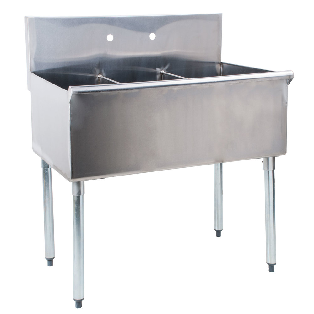 3 Bay Stainless Steel Commercial Sink : Regency 16 Gauge Three Compartment Stainless Steel Commercial Sink ...