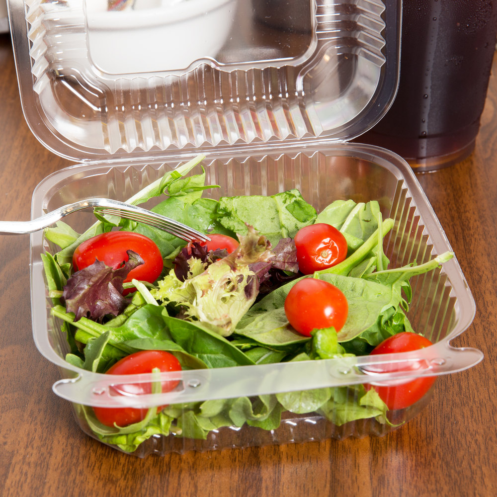 "Durable Packaging PXT-600 Duralock 6"" x 6"" x 3"" Clear Hinged Lid Plastic Container - 500/Case"