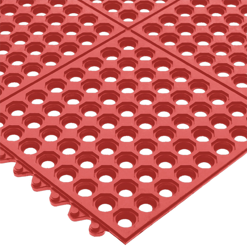 "San Jamar KM1240B Red Light Duty Grease Proof Connect-A-Mat 3' x 3' - 1/2"" Thick, Bagged"