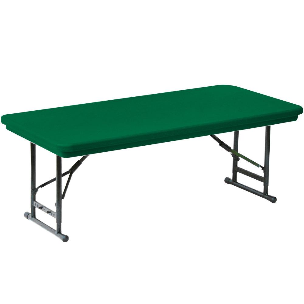 "Correll Adjustable Height Folding Table 30"" x 72"" Plastic Green"