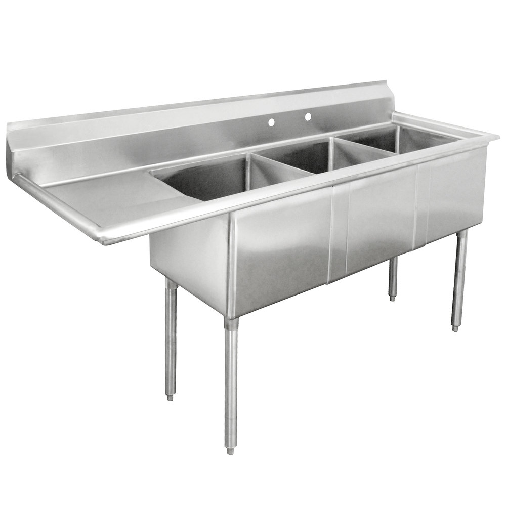 advance tabco fe 3 1812 18 three compartment stainless steel commercial sink with one drainboard 74 - Three Compartment Kitchen Sink