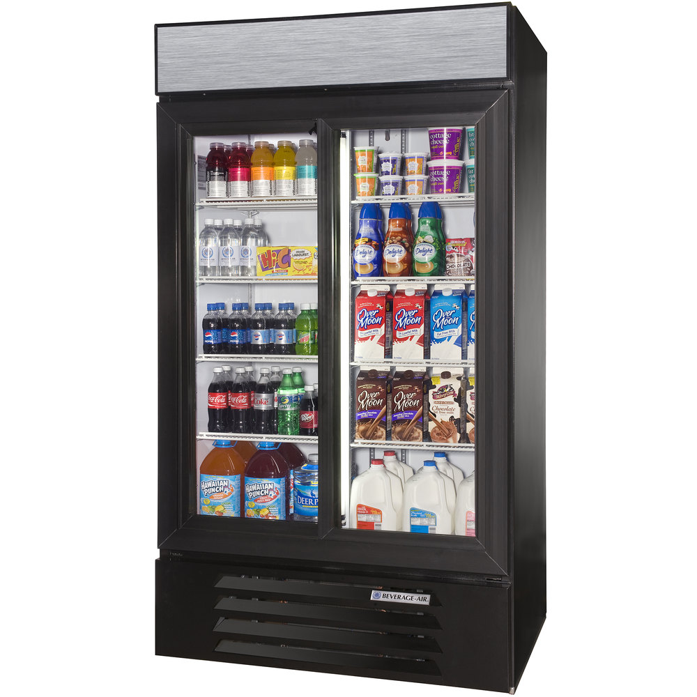 "Beverage Air LV38-1-B-LED Black LumaVue 43"" Refrigerated Glass Door Merchandiser with LED Lighting- 38 Cu. Ft."