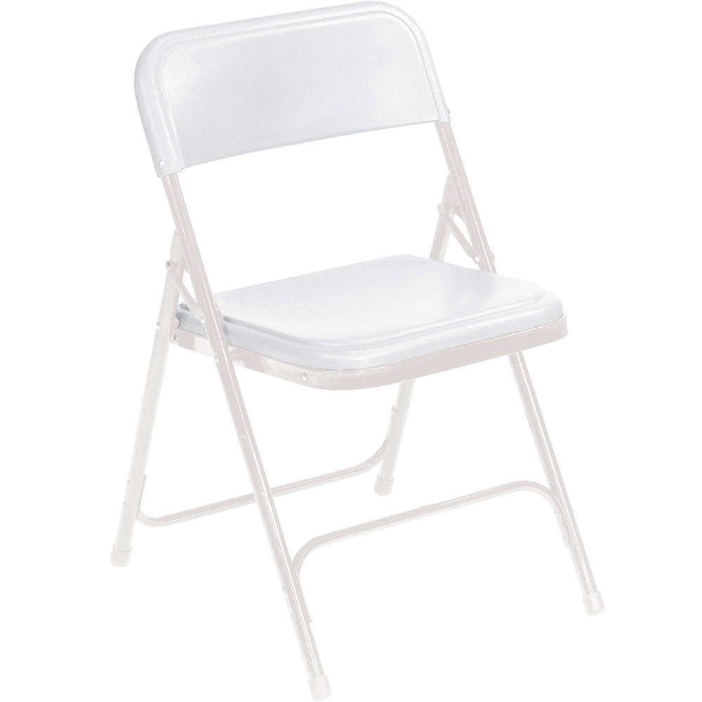 National Public Seating 821 White Metal Folding Chair With White Plastic Seat
