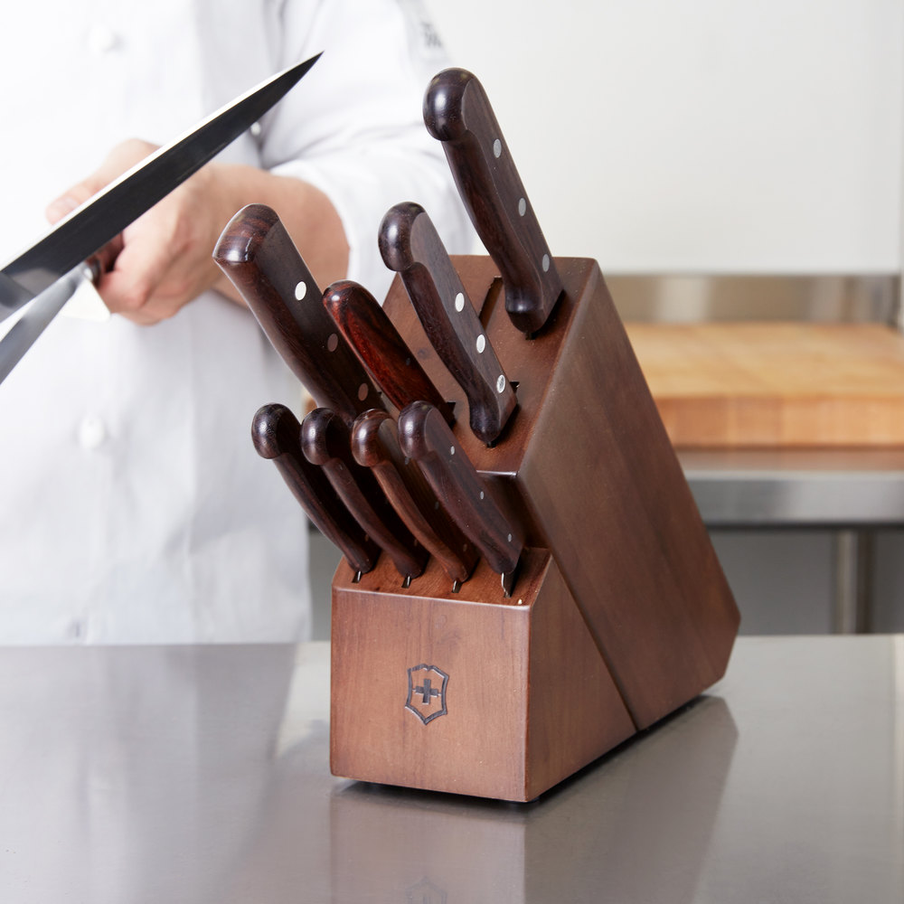 victorinox 46153 11 piece knife block set with rosewood handles victorinox forschner 46153 11 piece knife block set with rosewood handles