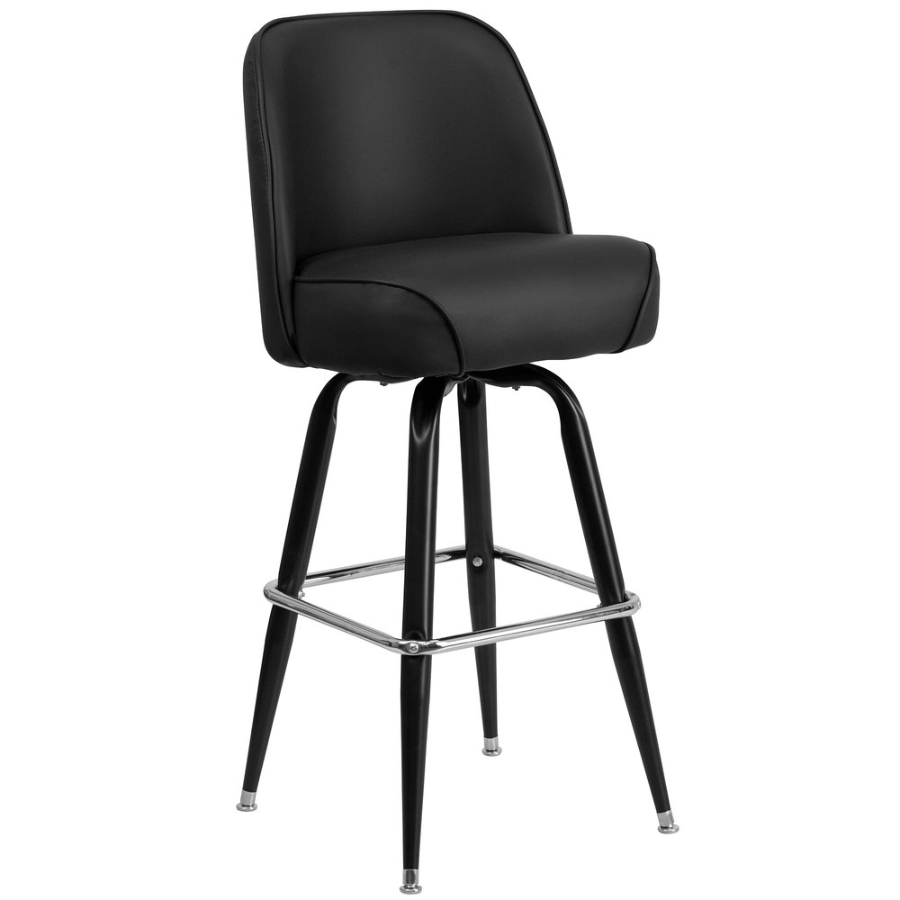 "Metal Barstool with 18 1/4"" Wide Black Padded Vinyl Swivel Bucket Seat"