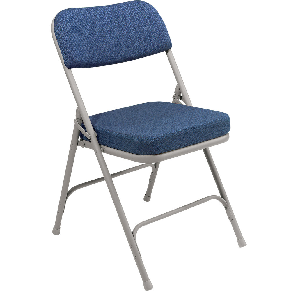 National Public Seating 3215 Gray Metal Folding Chair With 2 Regal Blue