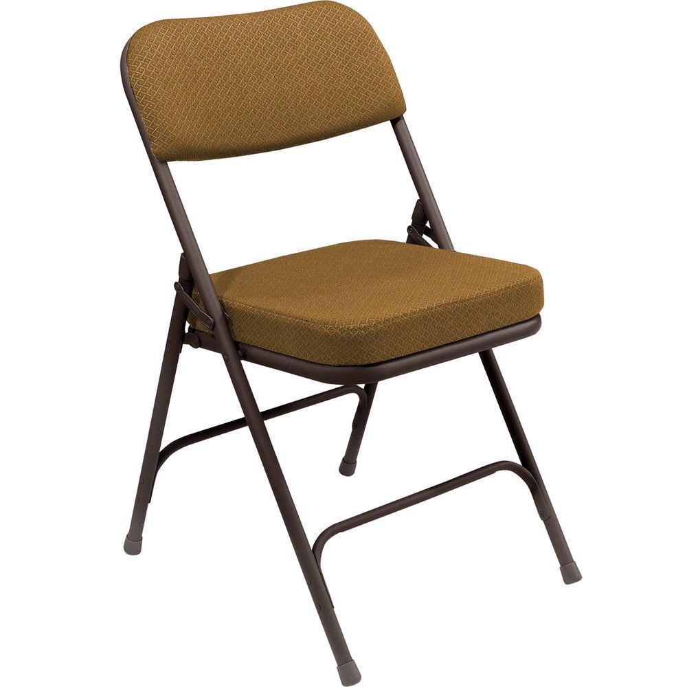 Antique velvet chairs - National Public Seating 3219 Brown Metal Folding Chair With 2 Antique Gold Fabric Padded Seat