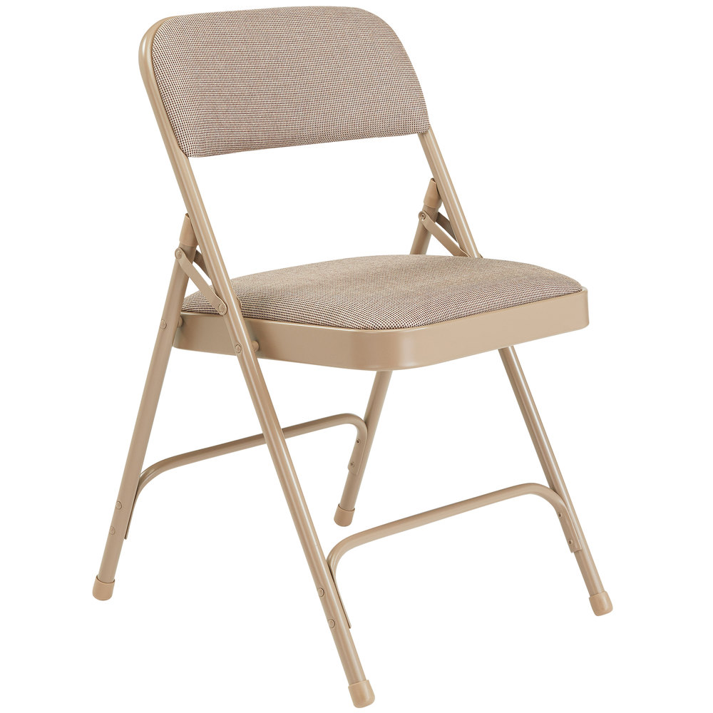 Outstanding National Public Seating 2201 Beige Metal Folding Chair With 1 1 4 Cafe Beige Fabric Padded Seat Machost Co Dining Chair Design Ideas Machostcouk