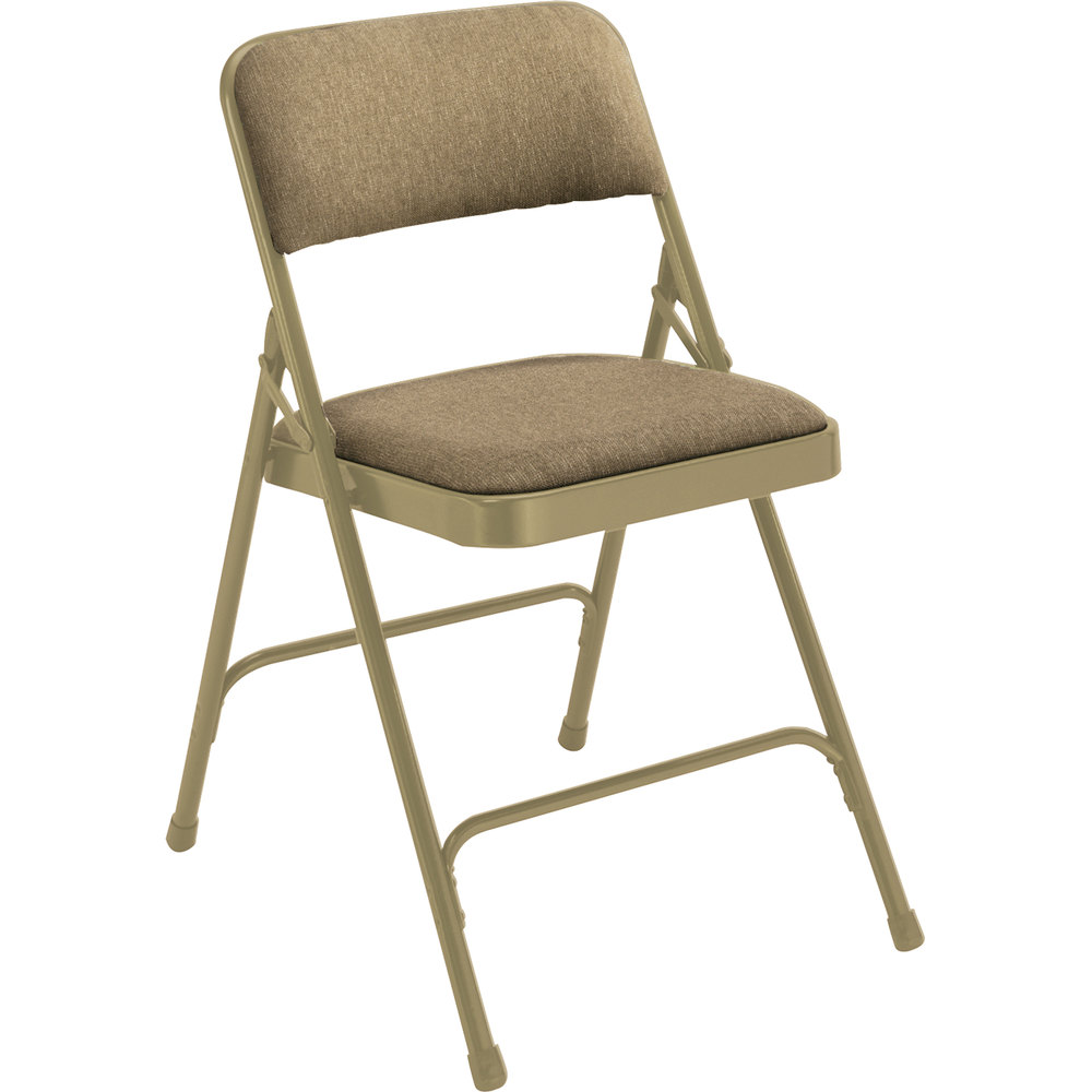"National Public Seating 2201 Beige Metal Folding Chair with 1 1/4"" Cafe Beige Fabric Padded Seat"