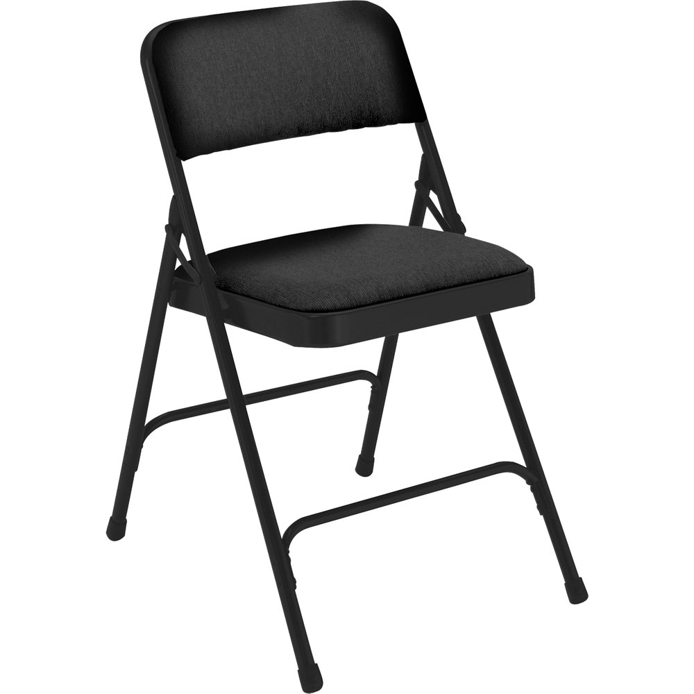 "National Public Seating 2210 Black Metal Folding Chair with 1 1/4"" Midnight Black Fabric Padded Seat"