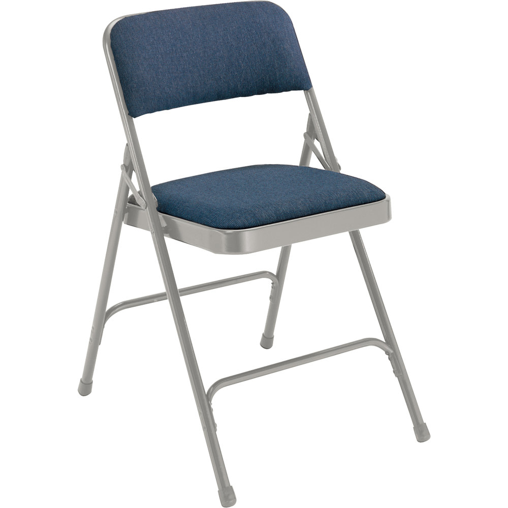 "National Public Seating 2205 Gray Metal Folding Chair with 1 1/4"" Imperial Blue Fabric Padded Seat"