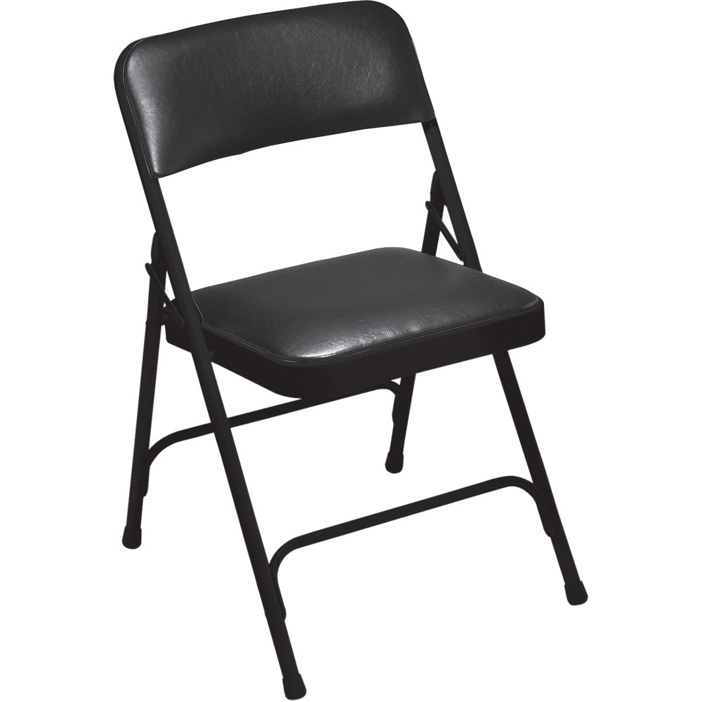 "National Public Seating 1210 Black Metal Folding Chair with 1 1/4"" Caviar Black Vinyl Padded Seat"