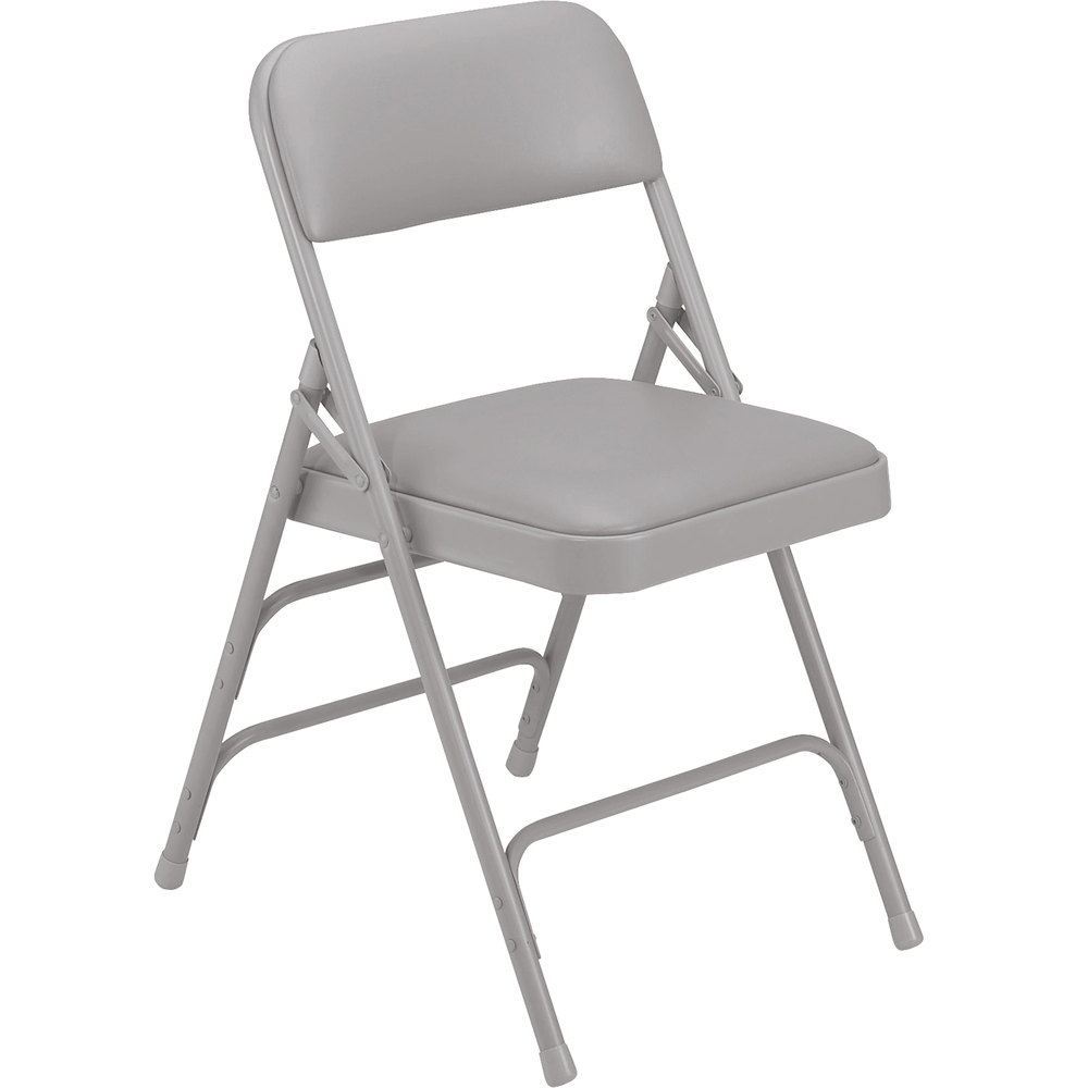 Black padded folding chairs - National Public Seating 1302 Gray Metal Folding Chair With 1 1 4 Warm Gray Vinyl Padded Seat