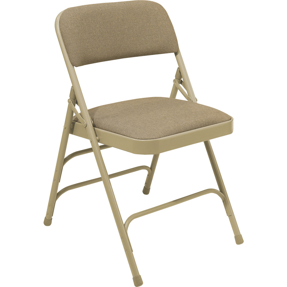"National Public Seating 2301 Beige Metal Folding Chair with 1 1/4"" Cafe Beige Fabric Padded Seat"