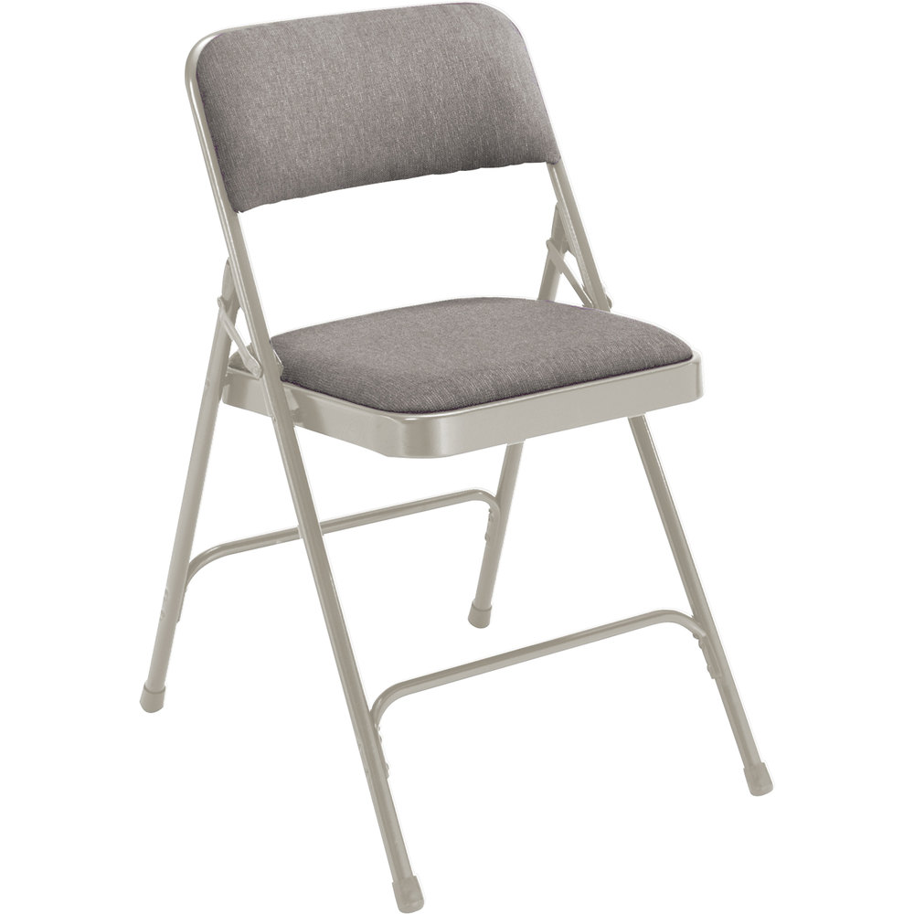 "National Public Seating 2202 Gray Metal Folding Chair with 1 1/4"" Graystone Fabric Padded Seat"