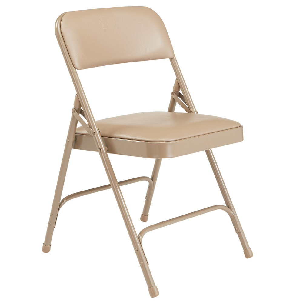 Metal Folding Chair With Scroll Back >> National Public Seating 1201 Beige Metal Folding Chair With 1 1 4