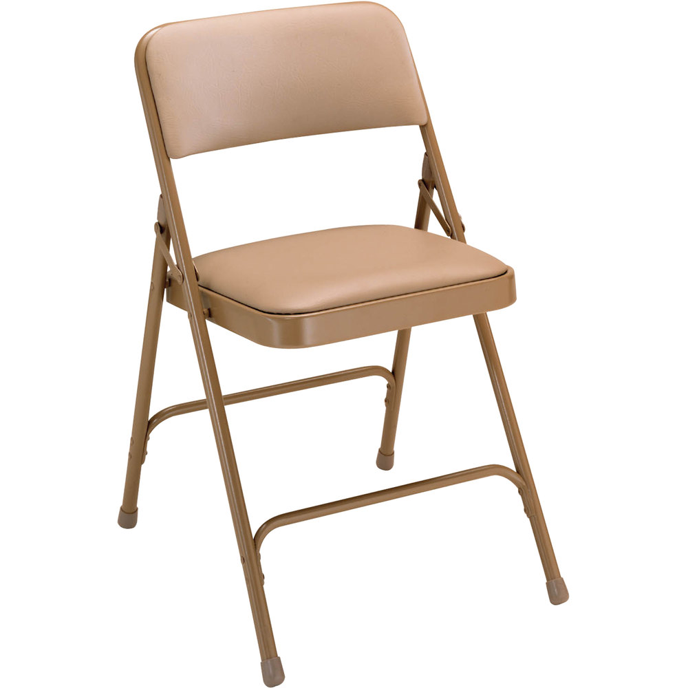 "National Public Seating 1201 Beige Metal Folding Chair with 1 1/4"" French Beige Vinyl Padded Seat"