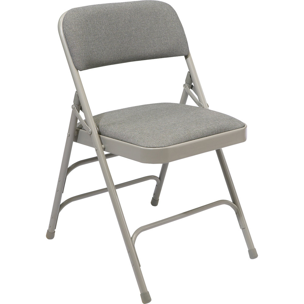 "National Public Seating 2302 Gray Metal Folding Chair with 1 1/4"" Graystone Fabric Padded Seat"